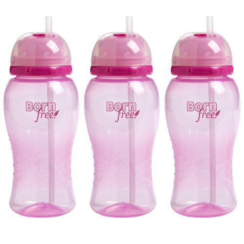 Born Free Twist 'N Pop 14 Ounce Straw Cup - Pink, by Born Free