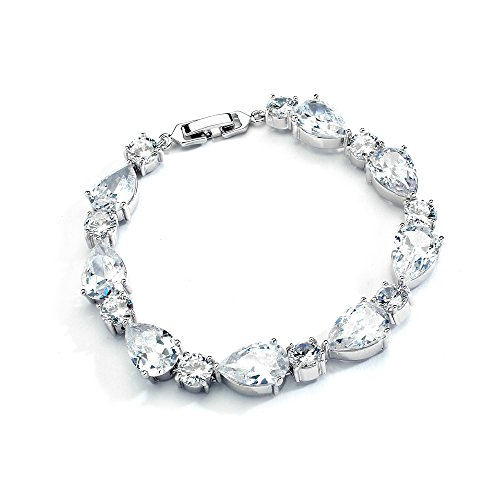 Mariell Glamorous CZ Bridal Bracelet Pear-Shaped and Round Cut - Ideal Wedding and Bridesmaids Jewelry ()