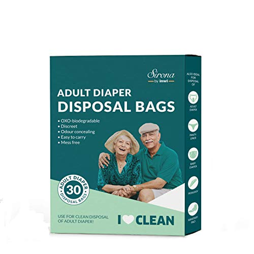 Sirona Premium Adult Diaper Disposable Bags – 30 Bags | Odor Sealing for Diapers, Food Waste, Pet Waste, Sanitary Product Disposal | Durable and Unscented