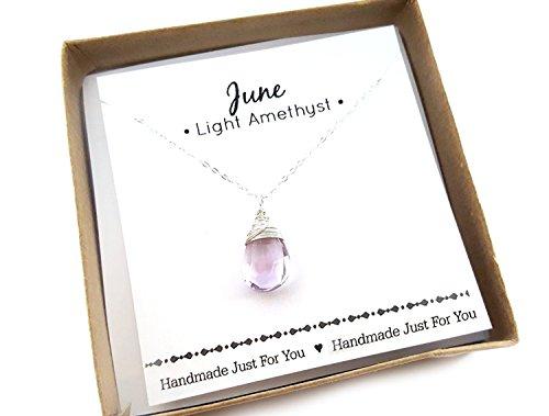 (June Birthstone Light Amethyst Gemstone Necklace - Sterling Silver Briolette Teardrop Jewelry - Gift for)