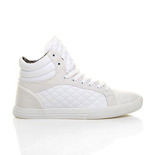 Bottines Dcontractes Ajvani Matelasses Baskets Salut Chaussures Lacets Blanc Haut Mens Taille Iq70q6