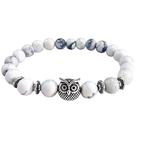 Price comparison product image JSPOYOU Promotions Women Owl Volcanic Stone Silver Bracelet Silver Bracelet Lava Stone Bead Bracelets (White)