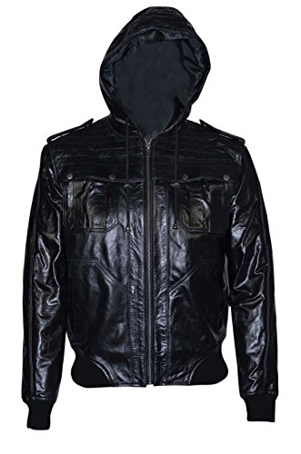 648 BLACK GLAZE Men's Bomber Hoody SlimFit Stylish HipHop Italian Leather Jacket by Smart Range