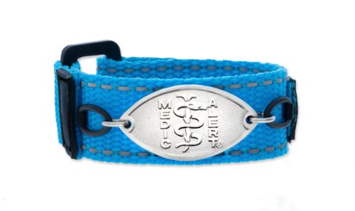 """WHAM! Blue Kids Sports Medical ID Band designed by MedicAlert® """"Penicillin Allergy"""" (6 Inches)"""