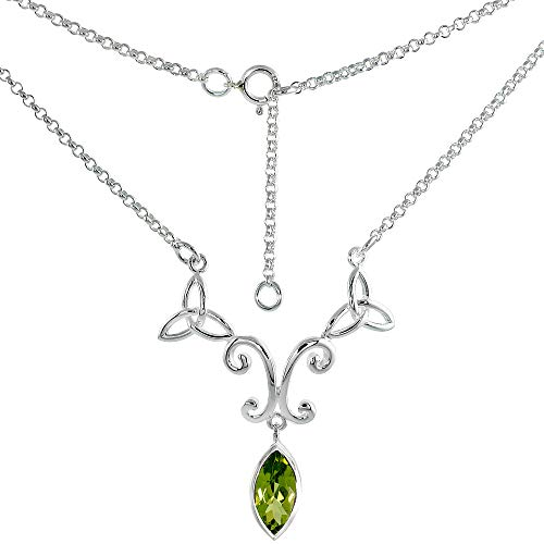 Sterling Silver Celtic Trinity Triquetra Knot Necklace with Genuine Peridot, 16-17 inch Long (Celtic Knot Peridot)