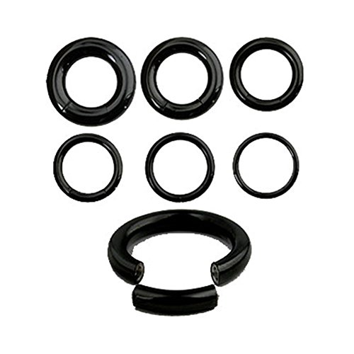 MsPiercing Black Titanium/Stainless Steel Segment Rings With 1/2