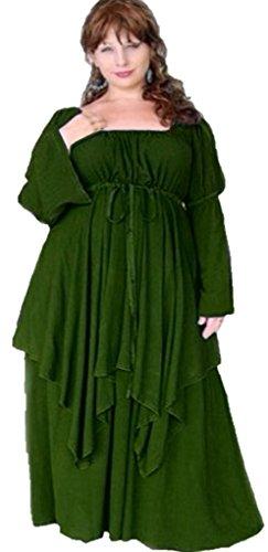 Lotustraders Lagenlook Peasant Renaissance Fair Long Sleeved Dress Emerald Green 3X G9220 (Renaissance Dress Plus Size)