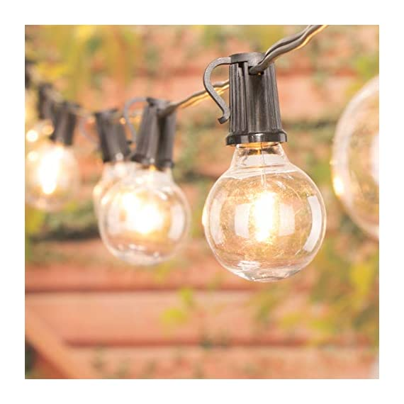 """Brightown LED G40 Outdoor String Lights 50FT Patio Lights with 51 LED Shatterproof Bulbs(1 Spare), Weatherproof Commercial Hanging Lights for Backyard Bistro Deck Party Decor, E12 Socket, 2700K, Black - SHATTERPROOF&SAFE: This led G40 bulbs made of plastic, much shatterproof than traditional glass bulb type. Low working temperature, and safe for touch. Multi-STRANDS CONNECTABLE: 6"""" lead with male plug, 12"""" spacing between bulbs, 6"""" tail with female connector. Total Length 50 Feet. Globe LED string lights can end to end connectable up to 7 strands(=350FT), feel free to customize your arrangements. ENERGY SAVING: Each LED bulb 0.4w (= 5W Tradition Bulbs), much lower wattage will save more energy for you, but the lifespan is 10-20 times of the traditional tungsten bulb. Candelabra (E12) socket base. - patio, outdoor-lights, outdoor-decor - 41wzOVZ4 VL. SS570  -"""