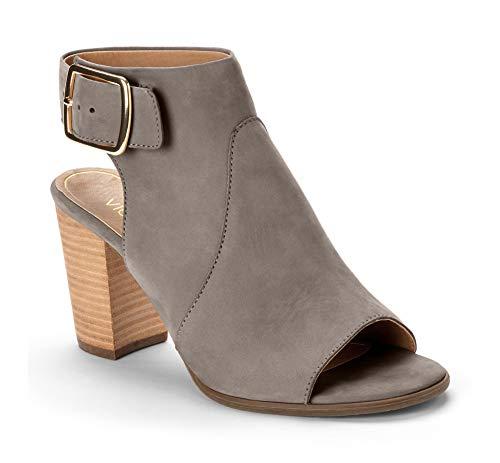 (Vionic Women's Perk Blakely Open Toe Slingback Heel – Ladies Peep Toe Booties with Concealed Orthotic Support - Grey Leather 6M)