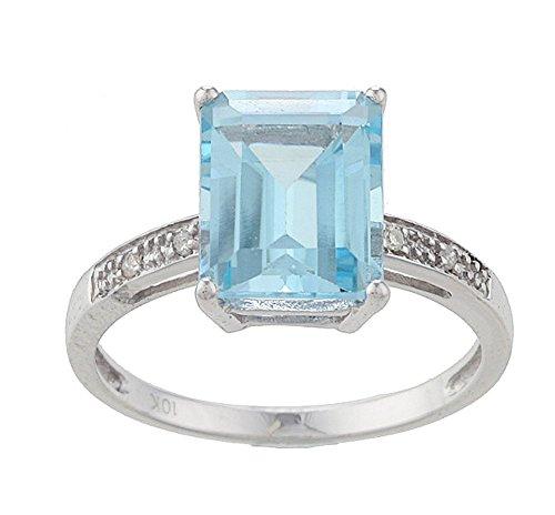 10k Rhodium-Plated White Gold Emerald-Cut Blue Topaz and Diamond Ring