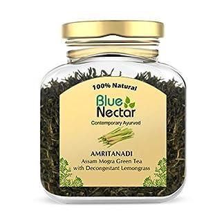 Blue Nectar Amritanadi Assam Green Tea   Whole Loose Green Tea Leaves from Assam Tea Garden (65 g   33 Cup) (Decongestant Lemongrass) 41wzP 2B43MBL