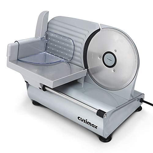 CUSIMAX Food Slicer, Electric Meat Slicer with 7.5'' Removable Stainless Steel Blade and Pusher, Deli Cheese Fruit Vegetable Bread Cutter, Adjustable Knob for Thickness, Food Carriage & Non-Slip Feet, Compact, Black, Commercial & Home Use