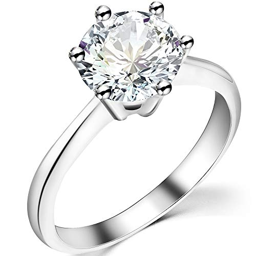 925 Sterling Silver 2 Carat Cubic Zircon Diamond Wedding Engagement Proposal Solitaire Ring ()
