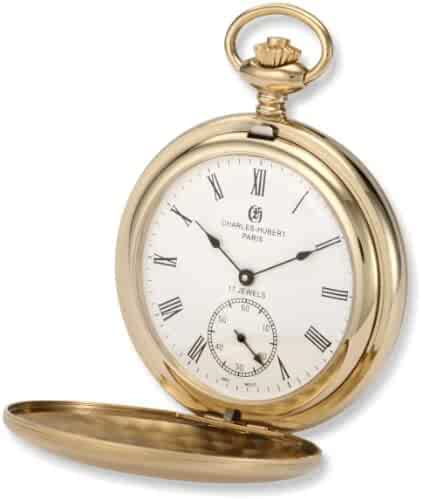 Charles-Hubert, Paris 3908-GR Premium Collection Gold-Plated Stainless Steel Satin Finish Double Hunter Case Mechanical Pocket Watch