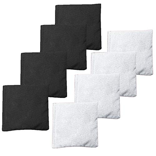 - Weather Resistant Cornhole Bean Bags Set of 8 - Regulation Size & Weight - White & Black