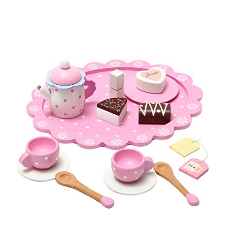Wooden Tea Sets for Toddlers 3 Years Old,KIDS Toyland Dessert Cake Tea Sets for Girls, 15 PCS Girls Tea Set - Teapot, Teacups, Plates and Cakes,Pretend Play Learning Kitchen Toys for Girls and Boys