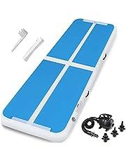 gymnastiek turnmat turnmatten blauw airtrack opvouwbaar opblaasbaar mat met elektrische pomp voor thuis,buiten & binnen3m /4m/5m