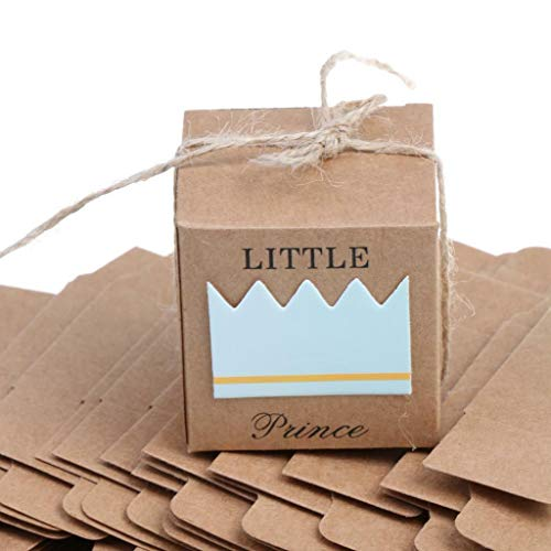 BROSCO Lot of 50pcs Paper Gift Candy Boxes Baby Shower Gifts Boxes Party Favor | Item - Blue Prince Crown