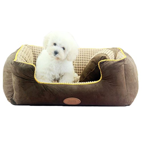 Quno Pet Washable Breathable Oversized Healthy Padded Moisture-Proof Bolster Bed Dog Cushion Cat Mattress Brown XL by Quno