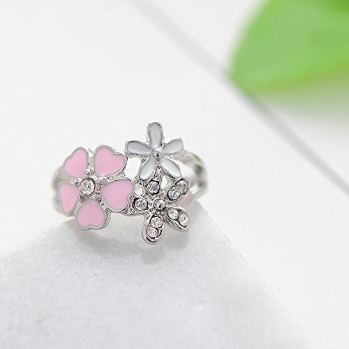 Cherry Blossom Pink Enamel Heart Floral Finger Ring Size 8,Outsta 2019 Fashion Jewelry Hot Sale!Under 5 Dollars Gifts for Her