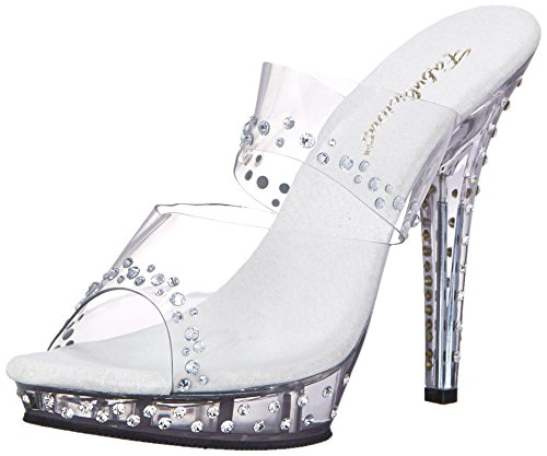 Fabulicious Lip-102RS - sexy High Heels Mini-Plateau Mules Sandaletten mit Strass 35-42 Clr/Clr