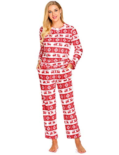 Hotouch Pajama Set for Women Cotton Flannel Reindeer Print Red-L ()