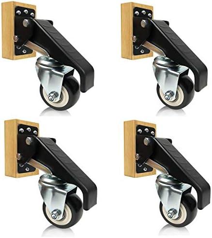 Details about  /SET OF 4 Workbench Stepdown Caster Kit Heavy Duty Retractable Steel Wheels 2020