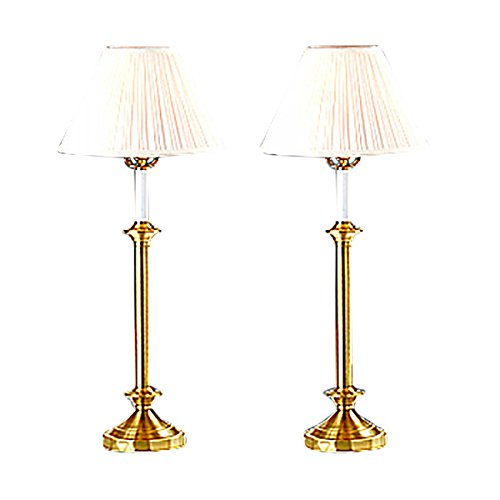 Renovator's Supply Brass Table Lamp Bedside Nightstand Pair Traditional Candlestick Design 27