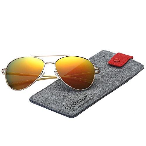 Spring Hinge Gold Frame - Polarspex Classic Men and Women Polarized Flex Hinge Aluminum Aviator Sunglasses
