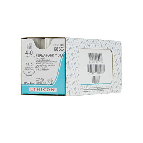 (Ethicon PERMA-HAND Silk Suture, 683G, Natural Non-absorbable, FS-2 (19 mm), 3/8 Circle Needle, Size 4-0, 18'' (45 cm))