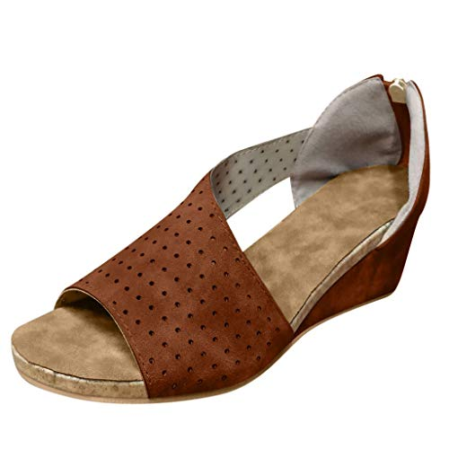 Womens Fashion Wedges,Summer Beach Shoe Shallow Mouth Peep Toe Platform Zip Solid Round Toe Shoes Casual Roman Sandals Brown