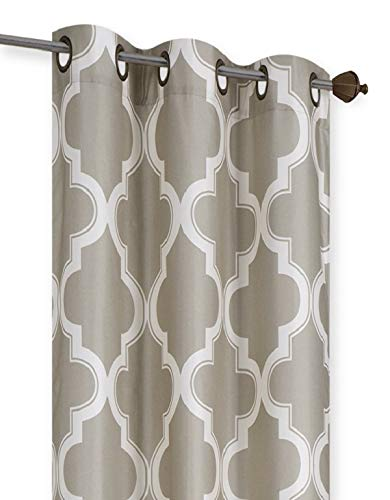 GorgeousHome 1PC Chic Luxurious Curtain Panels Bronze Grommet Top Faux Silk Lined Blackout Thermal Window Dressing Treatment Drape 2-Tone Mix Colors in 2 Sizes (MOZA Taupe/Ivory, 84