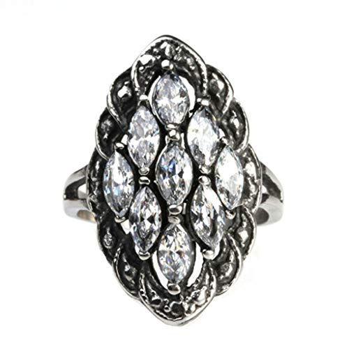 Aokarry Jewelry Women Stainless Steel Ring Promise Anniversary Polished Cubic-Zirconia Rhombus Silver Size 6