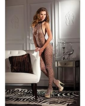 3561fda25cc Image Unavailable. Image not available for. Colour  Leopard Print Halter  Neck Crotchless Bodystocking ...