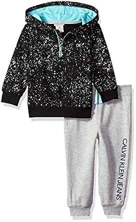 Calvin Klein Baby Boys 2 Pieces Hooded Jog Pant Set, Black/Gray/Aqua, 3-6 Months