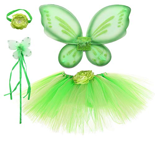 Tutu Dreams Green Fairy Costume for Girls Princess Butterfly Wings Accessories Halloween Birthday Dress Up (Tinkerbell, Girls(3-7 Years)) ()