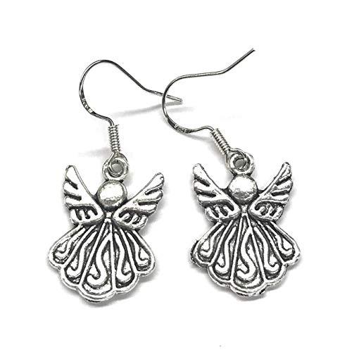 Silver Angel Charm Drop Dangle Earrings French Hook Earwires 1 Inch