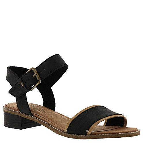 (TOMS Camilia Sandal - Women's Black Leather, 9)