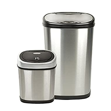 Nine Stars CB-DZT-50-13/12-9 Stainless Steel 2-in-1 Infrared Touchless Automatic Motion Sensor Lid Open Trash Cans Combo, 13.2/3.2 gallon