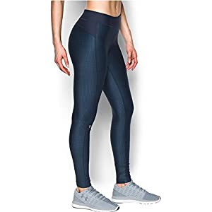 Under Armour Women's HeatGear Armour Printed Legging, Midnight Navy/Bayou Blue, Small