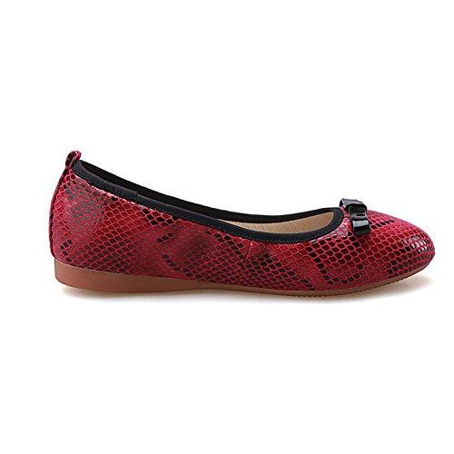 VogueZone009 Damen PU Leder Gemischte Farbe Ziehen auf Rund Zehe Niedriger Absatz Pumps Schuhe Rot
