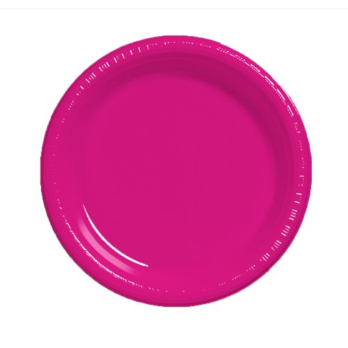 Creative Converting Touch of Color 20 Count Plastic Dinner Plates, Hot Magenta