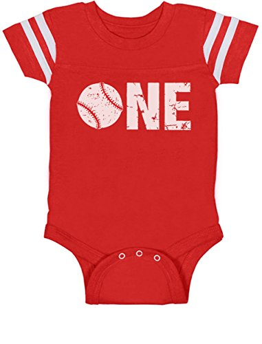 1st Birthday Gift For One Year Old Infant Baseball Baby Jersey Bodysuit 18M Red