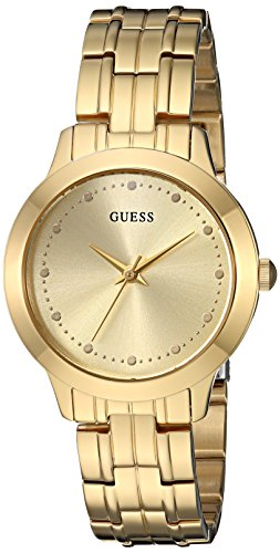 GUESS  Classic Slim Gold-Tone Stainless Steel Bracelet Watch. Color: Gold-Tone (Model: U0989L2)