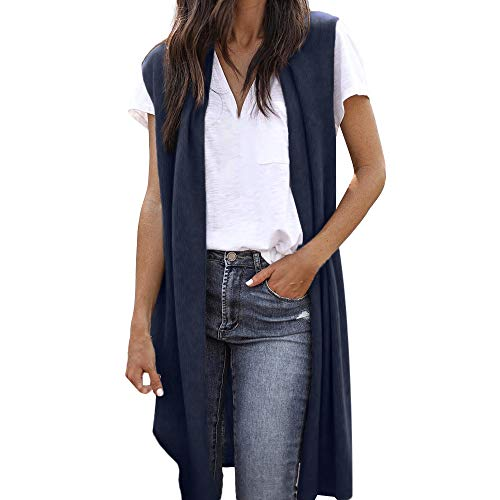 JOFOW Womens Vest Knit Long Sleeveless Cardigans Solid Cool Kimono Jackets Casual Fashion Straight Slim Thin Coat -