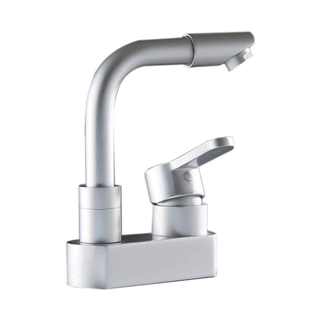 360 ° drehbarer Wasserhahn Retro-Wasserhahnbadezimmer-Badezimmer-KupferhauptKörper-einziges LocHöheißes und kaltes Wasserhahn-Badezimmer-Waschbecken-Becken-Mischwasserventil-Beckenmischer-Hahn