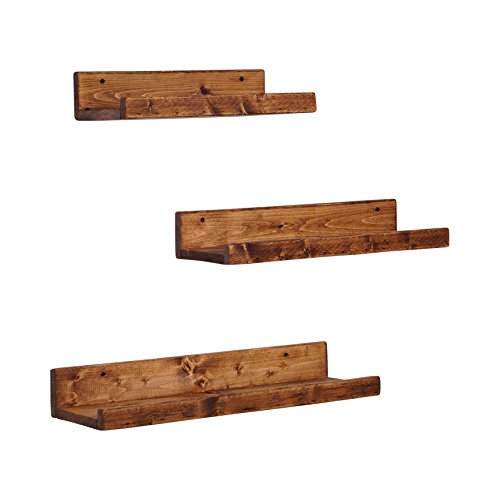 del Hutson Designs Rustic Luxe Floating Shelves, USA Handmade, Pine Wood, Set of 3 (Dark Walnut) (Wall Pine Shelf)
