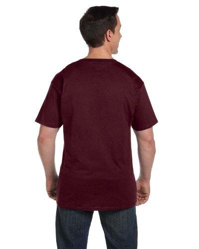 Hanes BEEFY-T Adult Pocket T-Shirt, Maroon, 3XL
