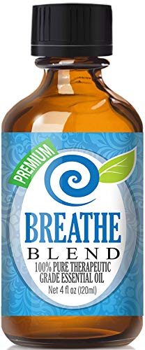 Breathe Blend 100% Pure, Best Therapeutic Grade Essential Oil - 4 Ounce - Eucalyptus, Cardamom, Lemon, Laurel Leaf, Peppermint, Pine, and Tea Tree