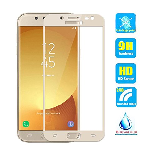 2pcs Full Cover Coverage Tempered Glass screen protector For Samsung Galaxy J3 pro 2017 J330 SM-J330F/DS J330F J330FN J3300 J3 Duos 2017 Film gold